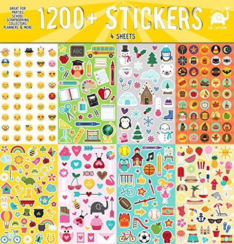 Year Round Sticker Assortment Set 1200 Count Collection for Children Teacher Parent Grandparent Kids Craft School Planners Scrapbooking