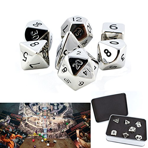 7 Pieces Silver Metal Polyhedral RPG Dice Set Math D&D Pathfinder Video Table Game
