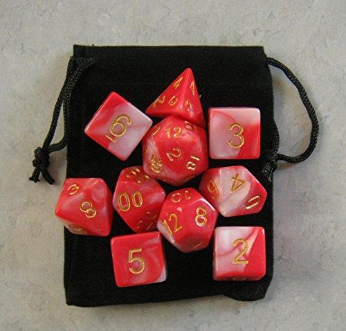 Vampire Blood RedPinkWhite RPG D&D Dice Set 7  3d6  10 polyhedral die plus bag