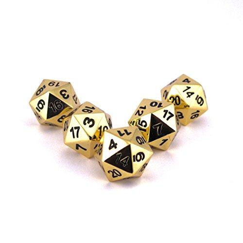 Solid Metal Gold D20 5 piece Polyhedral Dice Set - D&D RPG Pathfinder