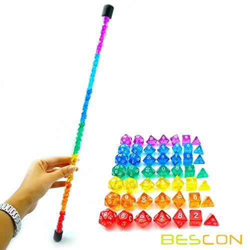 Bescon 49pcs Rainbow Gem Mini Polyhedral Dice Set in Long Tube Rainbow Dungeons and Dragons RPG Dice 7X7pcs Mini Gem Dice Set