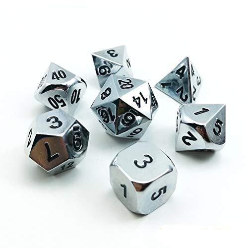 Bescon Shiny Gloss Silver Metal 7pcs Polyhedral Dice Set Chrome Metal RPG Game Dice 7pcs Set
