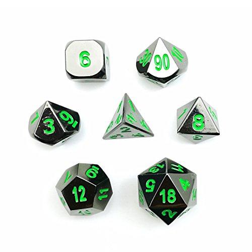 Deluxe Gloss Black Metal 7pcs Polyhedral Dice Set Black Metal RPG Game Dice Metal 7pcs Set of d4 d6 d8 d10 d12 d20 d