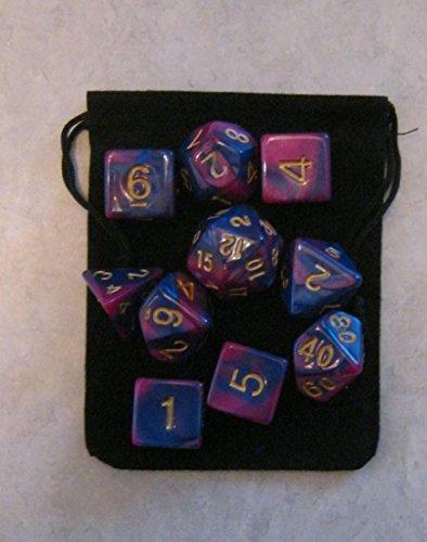 Cosmic Purple  Blue RPG D&D Dice Set 7  3d6  10 polyhedral die plus bag by Daves Dice