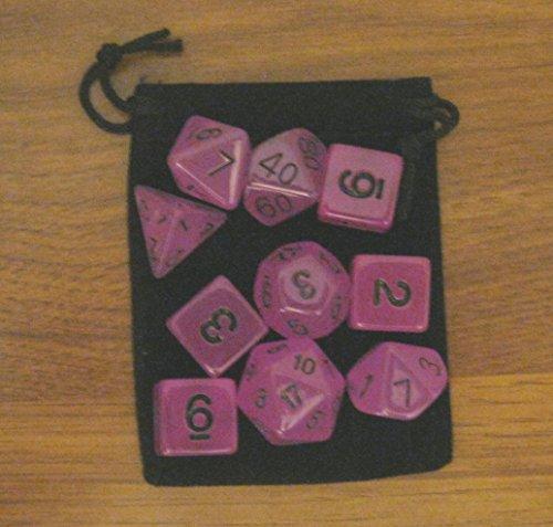 New 16mm GLOW-IN-THE-DARK PURPLE rpg d&d Dice Set 73d610 polyhedral die  bag