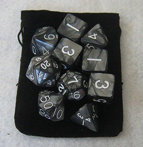 Smoke Black RPG D&D Dice Set 7  3d6  10 polyhedral die plus bag by Daves Dice