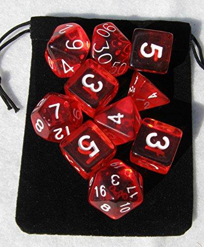 Translucent Red RPG D&D Dice Set 7  3d6  10 polyhedral die plus bag