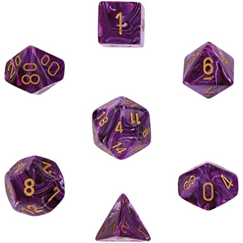 Chessex Dice Polyhedral 7-Die Vortex Dice Set - Purple wgold