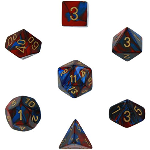 Polyhedral 7-Die Gemini Dice Set - Blue-Red with Gold CHX-26429
