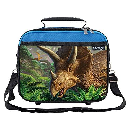 Triceratops Dinosaur Jungle School Lunchbox for Boys Girls Kids Blue