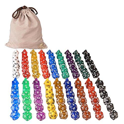 126 Polyhedral Dice - 18 colors w Complete set of d4 d6 d8 d10 d12 d20 d