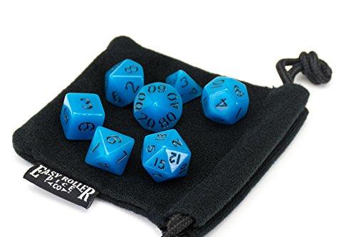 Polyhedral Dice Set  Aqua Blue Opaque  7 Piece  PRISTINE Edition  FREE Carrying Bag  Hand Checked Quality
