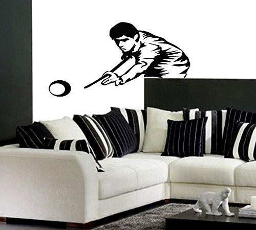 Sports Billiards Pool Ball Pool Table Cue Man Kids Room Children Stylish Wall Art Sticker Decal G8773