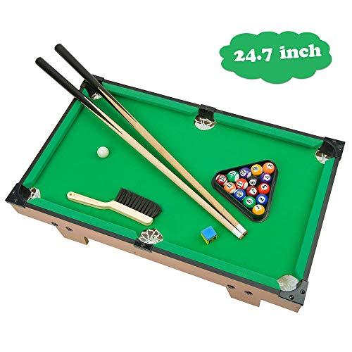 Portzon Mini Pool Table Premium Tabletop Billiards Mini Snooker Game Set - Balls Cues and Rack Pool Sport Bank Shot Family Playing
