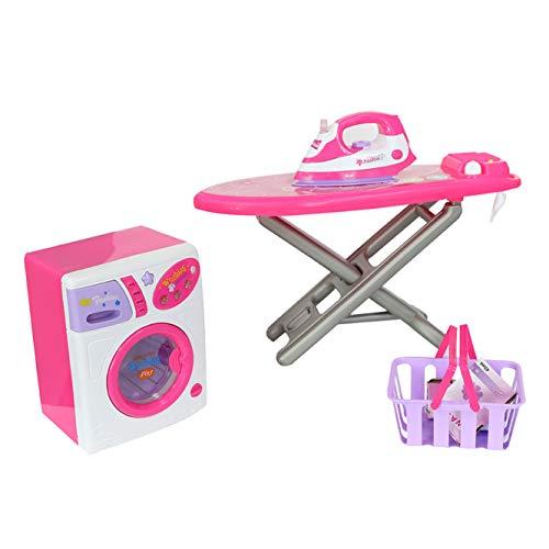 KARMAS PRODUCT Laundry Center Play Set Housekeeping Toy for Girls Includes Ironing Board Iron Washing Machine