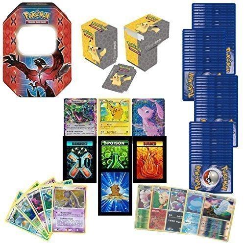 100 Assorted Pokemon Cards with 2 Ultra Rares Bonus 20 Foils Pokemon Deck Box Pokemon Tin or Storage Box Includes 3 Custom Golden Groundhog Token Counters