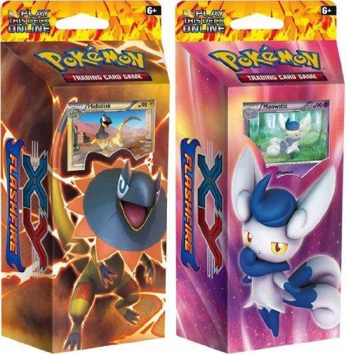 BOTH DECKS - Pokemon 2014 Nintendo TCG Card Game XY2 FLASHFIRE Theme Decks - Meowstic Heliolisk