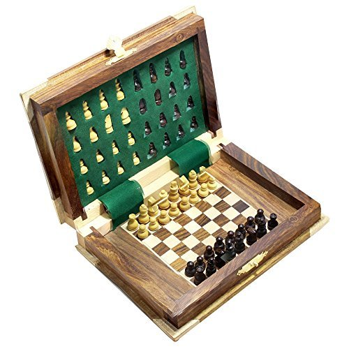 Book Shape Wooden Folding Chess Board and Magnetic Pieces Travel Games Set by RoyaltyRoute