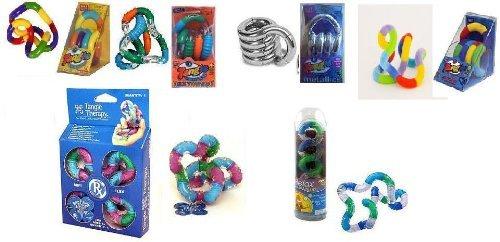 Set of 6 Tangle Jr Fidget Toys Original Metallic Textured Fuzzy Relax Therapy