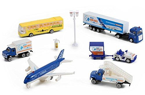 Airlines International Airplane Diecast Airport Playset 13-piece