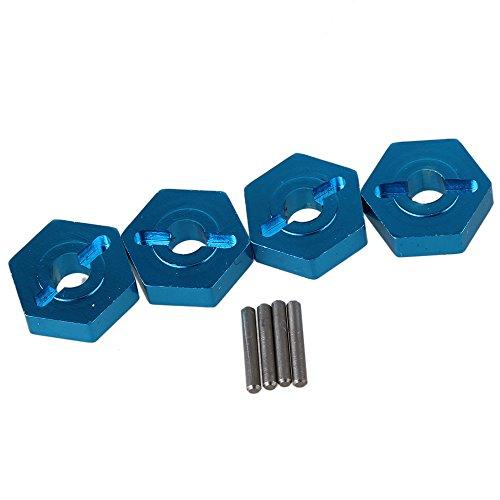 BQLZR Blue A580040 Aluminum Alloy Wheel Hub Hex 12x4mm Mount 10x15mm Pin Upgrade Parts for WL A959 A969 A979 k929 RC 118 Car Pack of 4