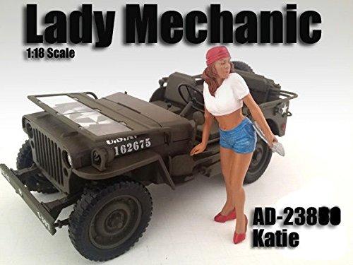 LADY MECHANIC KATIE FIGURE 118 SCALE DIECAST MODEL CARS AMERICAN DIORAMA 23862