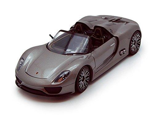 Porsche 918 Spyder Convertible Gray - Welly 24031 - 124 scale Diecast Model Toy Car
