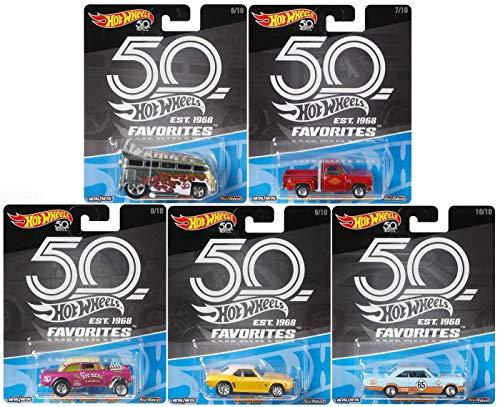 2018 Hot Wheels 50th Anniversary Favorites B Series Set of 5 164 Scale Diecast Cars VW Drag Bus 55 Gasser Chevy Camaro