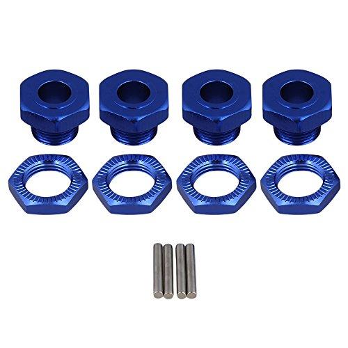 BQLZR Dark Blue Aluminum Alloy Hex Wheel Hubs Nuts Pins Set Screws T10092 for RC 18 Model Car Truck Tires Adapter Pack of 4
