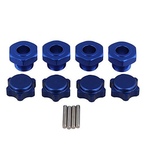BQLZR Dark Blue Aluminum Alloy Hex Wheel Hubs Nuts Pins Set T10125 for RC 18 Model Car Truck Pack of 4