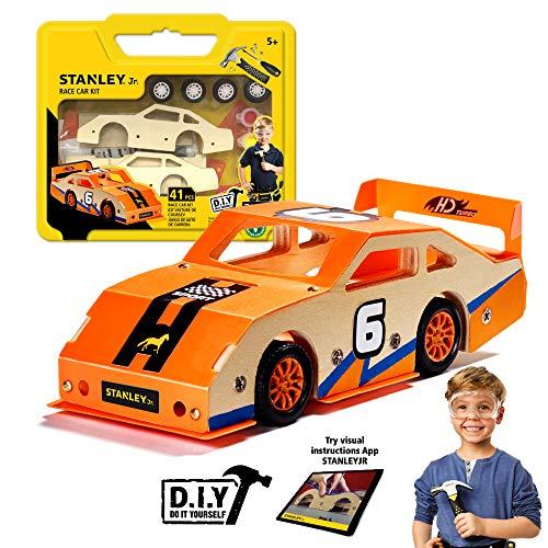 Stanley Jr Custom Orange Race Car - DIY Model Car Kits for Kids - Easy to Assemble Race Car Building Set - Wood Racecar Kit - Wooden Race Car Crafts - Paint Decals Included