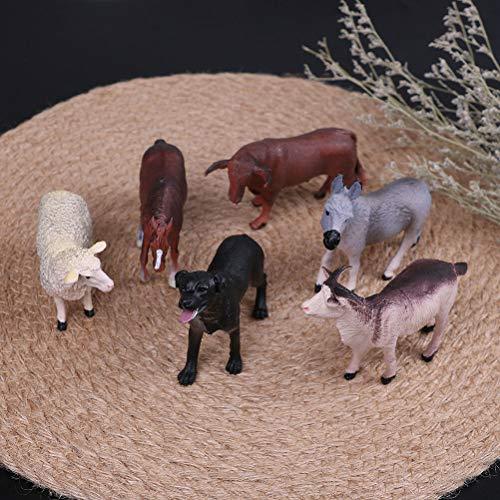 FidgetKute 6Pcs Simulated Farm Animal Sheep Dog Horse Donkey ox Cow Set Plastic Model Toy Show One Size