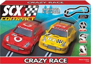 SCX Compact 143 Scale Slot Car Race track set Crazy Race DTMs