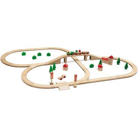 Eichhorn 55-Piece Beechwood Train Set with Bridge