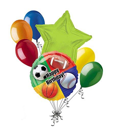 7 pc Happy Birthday Sports Balloon Bouquet Party Decoration Football Basketball