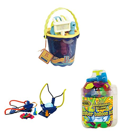 B Toys B Sands Ahoy Medium Beach Bucket Set Water Sports Wrist Balloon Launcher with Water Sports Balloon Refill Kit 500-Pack