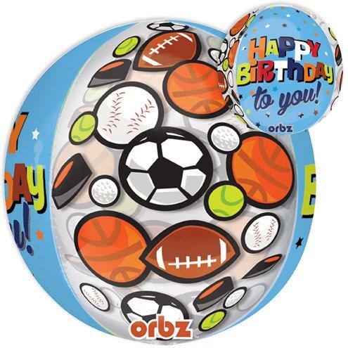 LoonBallon 16 Inch Orbz Birthday Sports Balloon Geometric 5 Pieces