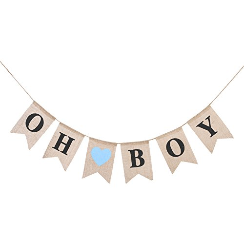 Lings moment oh boy Burlap Banner for Baby Shower Decorations Birthday Party Decor