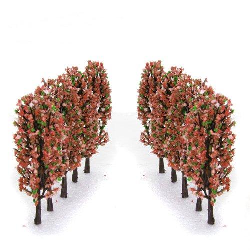 33 Inch Green Train Set Scenery Landscape Model Tree with Peach Flowers Scale 1200 - 20PCS