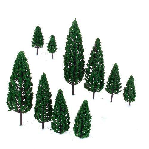 Dcolor 10Pcs 19 inch - 63 inch Train Set Scenery Landscape Model Pyramidal Trees Scale 150