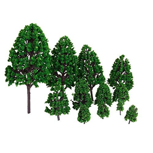 Generic 12pcs Green Train Set Scenery Landscape Model Tree Scale 150 12 - 63inch