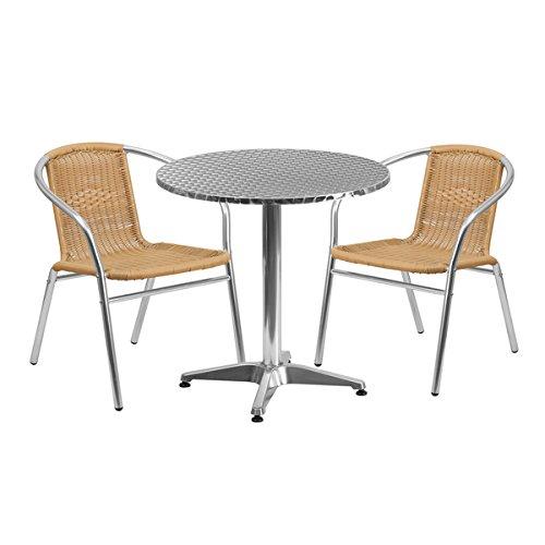 IndoorOutdoor Table Set Aluminum Beige 3-Piece Sets all-weather use