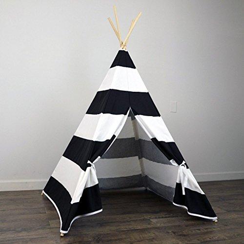 AniiKiss 6 Giant Canvas Kids Teepee Play Tent Black Stripes