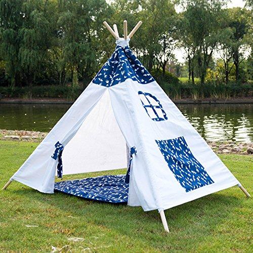 LazyDaze HammocksFoldable Cotton Canvas Teepee Kids Indoor Outdoor Play Tent