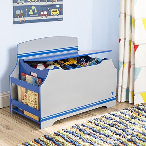 Jack Jill Deluxe Toy Box w Book Rack Blue  Grey
