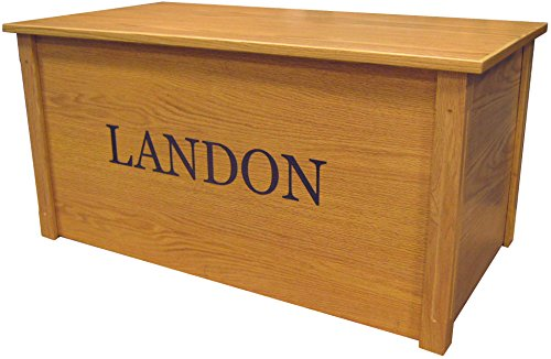 Wood Toy Box Large Oak Toy Chest Personalized Georgia Font Custom Options Cedar Base