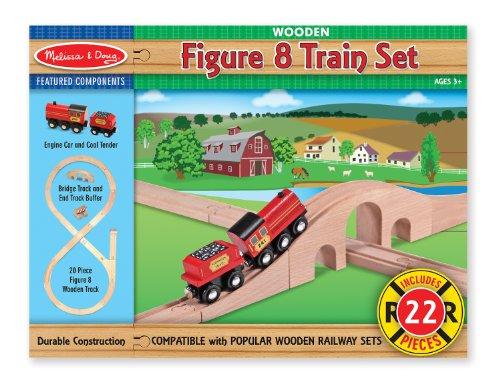 Melissa Doug Classic Wooden Figure Eight Train Set 22 pcs