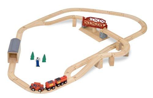 Melissa Doug Swivel Bridge Wooden Train Set 47 pcs