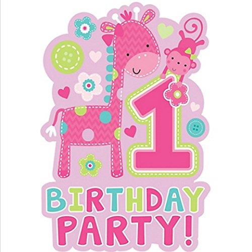 1st Birthday One Wild Girl Invitations w Envelopes 8ct