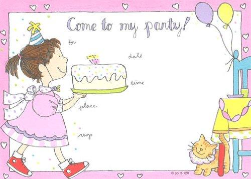 Girls Cake Girl Invitations Fill-In Style 8 Pack